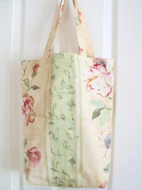 cotton shopping bag, shopper tote bag for holidays, cotton carry all, cream rose print fabric