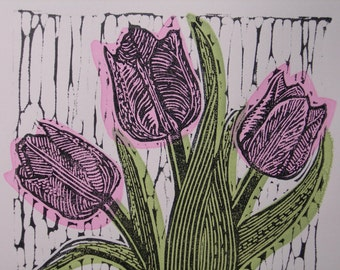 Tulips, limited edition, Lino and Screen Print. 2014.