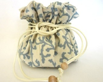 Essential Oil Bag, Wedding Gift, Travel Jewelry Pouch, Beige/Blue Scroll, Bridesmaids Gift, Jewelry Organizer, Jewelry Holder, Ready 2 Ship