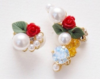 Beauty and The Beast  Ear Cuff Set Rose Earrings