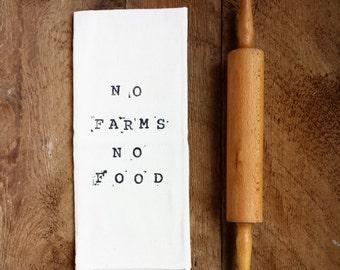 PRINTED TEA TOWEL | No Farms No Food | Hostess Gift | Kitchen Gift