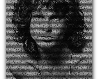 Jim Morrison The Doors Text Portrait Canvas Art Print A1 A2 A3 A4