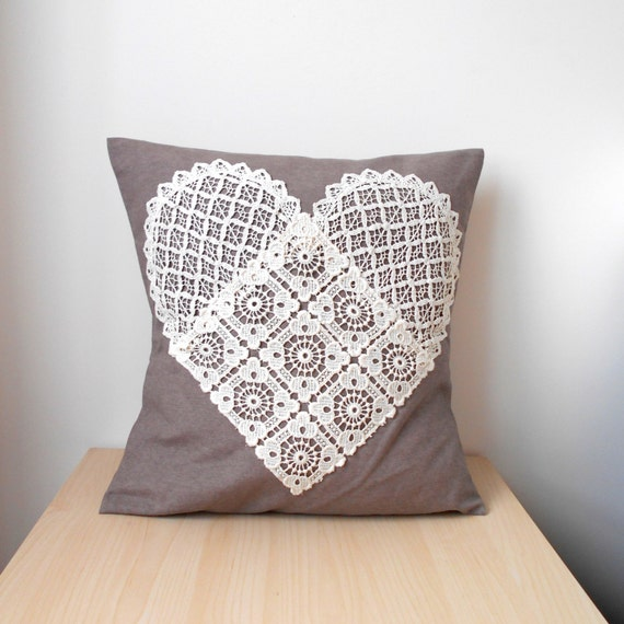 Lace Throw Pillow Covers : Heart Pillow Cover Lace Throw Pillow Heart Home by MyLacyBoutique