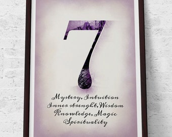 Number 7 Printable art Instant download A4 JPG Retro Typography illustration Lucky number symbolism Numerology Wisdom Knowledge Home decor