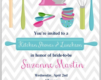 Printable Kitchen Shower Invitation - Luncheon - PDF file - digital