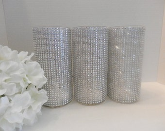 6 Wedding centerpiece vase ,  Rhinestone candle holder, flower vase , Bouquet holder, bling candle holder, Wedding decoration