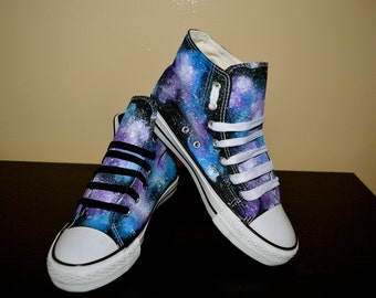 Custom hand made cosmic galaxy canvas hi top trainers(similar to Converse style)