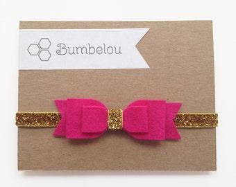 Large Double Bow Headband - Fuschia and Gold