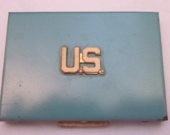 Vintage Turquoise Mirrored Compact with US initialed on the front