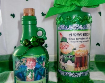ST. PATRICK'S Potion BOTTLES Set of 2 Decoration 6 in. and 8 in. Apothecary Vintage Glass One Of A Kind Celtic Irish Leprechaun Shenanigins