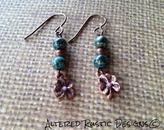 St Patrick's day clover earrings/ Copper four leaf clover earrings/earrings/ jewelry/good luck earrings/verdigris earrings/ rustic earrings