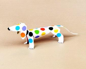 "Dachshund Dog Sculpture Polka Dot 4"" long Handmade Copper Miniature"