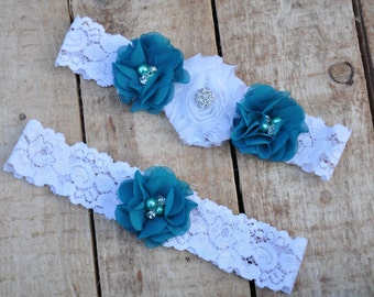 Teal wedding garter Teal bridal garter Keepsake garter Turquoise garter Teal garter ivory lace wedding garter teal white wedding garter