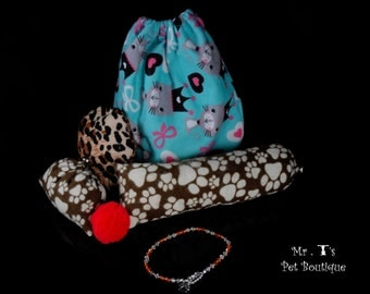 The BEST hand made cat toys ever!  Also includes Mr T's signature necklace collar - choice of color.