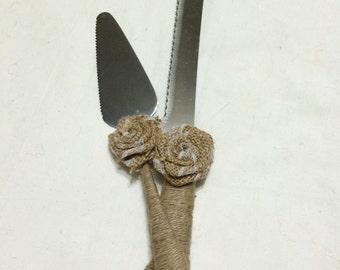 rustic twine wedding cake knife,  wedding cake cutting set,   burlap lace flower