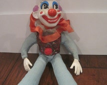 Antique Clown Corduroy Doll Toy Collectible-Stuffed Clown with Plastic Rubber Head/Hands/Feet-Child's Toy Clown-Rare Toy Clown Collector