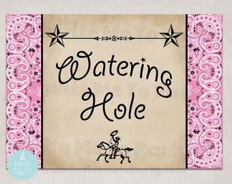 Cowgirl Party Watering Hole Sign  printable sign, poster, 5 x 7  instant download