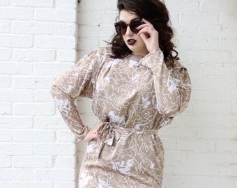 1980's La Chemise Taupe Shiny Dress with belt