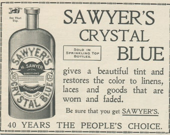 Sawyer's Crystal Blue matted ad, Old bottle ad, Vintage Ad from 1902 Youth's Companion, Unusual Matted Desk Decor ready to frame
