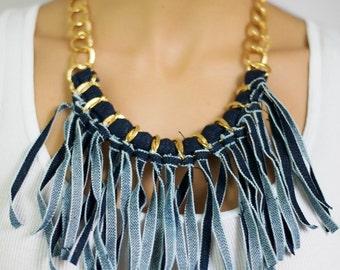 Denim Necklace, Fringe Necklace, fabric fringe necklace, Jeans necklace, Blue Denim Necklace, Denim and Gold chain necklace