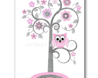 Owl Tree Nursery Art for Children Printable Digital Print Baby Girl Nursery Print Digital Download Print 8x10 11X14 INSTANT DOWNLOAD pink