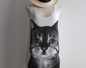 Cat Fashion Print Pop Rock Funky Indie Tank Top
