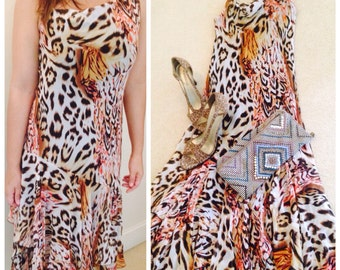 Animal Print Dress/ Long Dress/  - SMALL