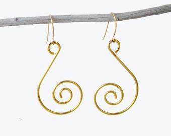 Swirl Dangle Gold Earrings, Dangle Swirl Earrings, Swirl Earrings,Dangle Earrings,Earrings Dangle,Dangle Earrings Gold, Dangle Gold Earrings