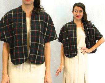 50s Green Plaid Shrug | Reversible Wool Wrap