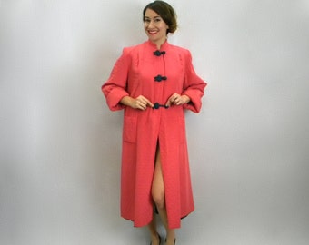 40s Pink Quilted Robe | Coral Housecoat with Satin Lining | Saybury | Medium-Large