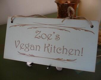 Personalised Vegan Kitchen Sign, Custom Name Vegan Wall Sign, Vegan Home Decor, Custom Wooden Sign, Kitchen Plaque