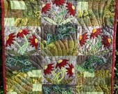 "Patchwork Art Quilt Appliqued, Pieced, Machine Quilted Wall Hanging Red Daisy 'Spring Glory' Fungus Made Of Textured Yarn  - 29.5"" X 27.5"""