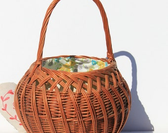 Vintage French Basket, rustic,hand made, home decor ,
