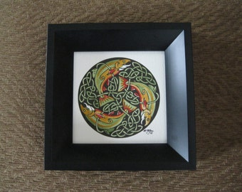 Original watercolor painting of a celtic knotwork design with Brook Trout