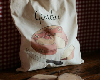 Gouda - 4oz Cotton Tote Bag with Cheese Illustration