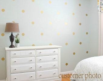Gold Polka Dots Wall Decal, Gold Polka Dot Decal, Metallic Golden Polka Dot Vinyl Wall Art, Gold Vinyl Wall Decals, Gold Wall Sticker #P76