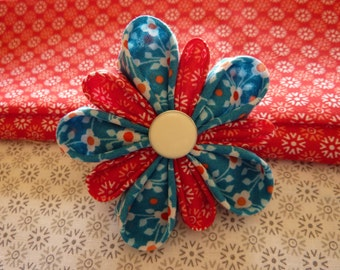 Kanzashi flower brooch flower fabric , red, blue, white -white button with a gift on Mother's Da