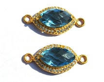 CZ Pave 14x7mm Sky Blue Quartz Marquise Shape Connector 24kt Gold Plated Double Loop Pendant, Pave Station Connector, Pave Charm 1Pc