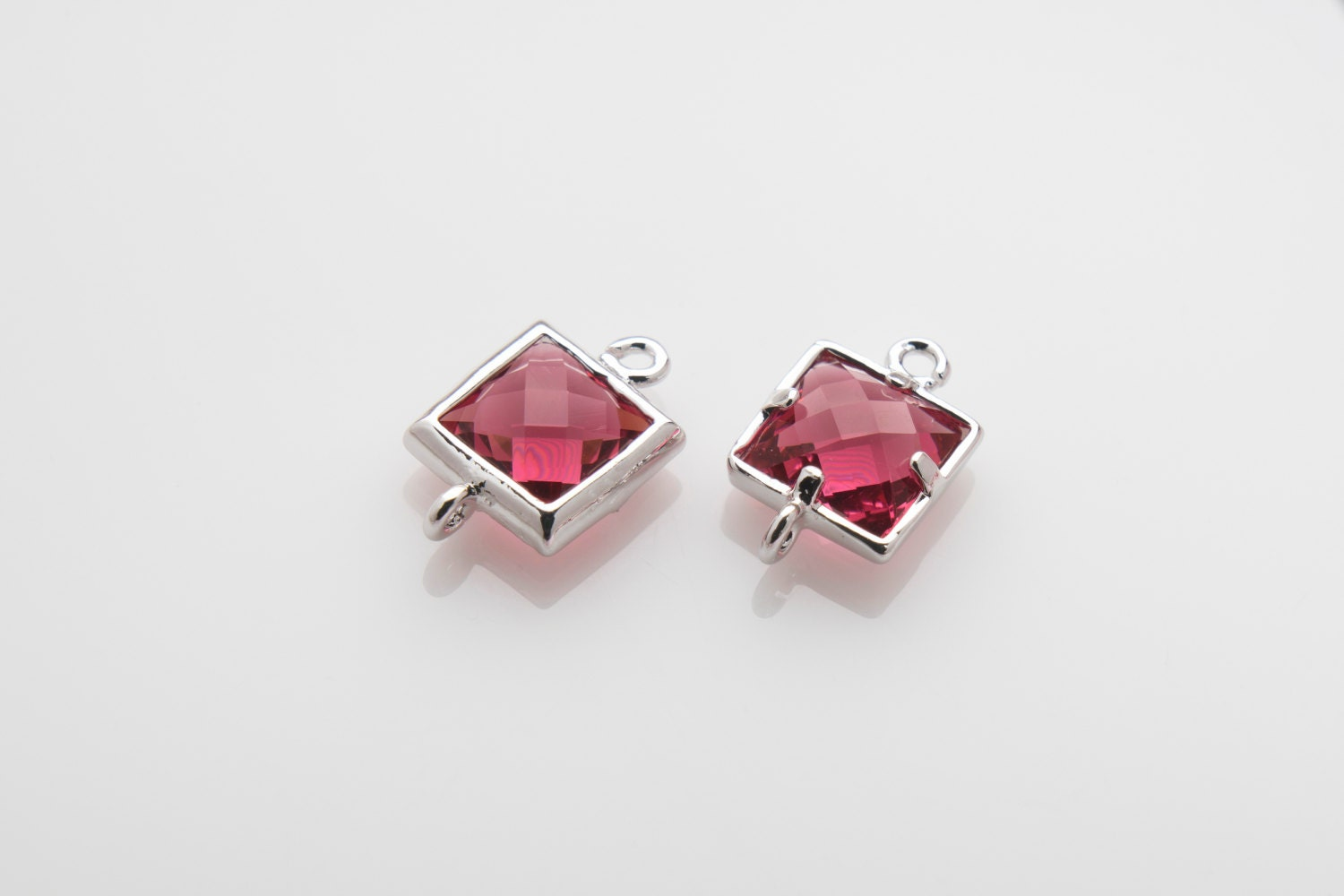 Fuchsia Glass Connector, Square Glass, Jewelry Supplies ...