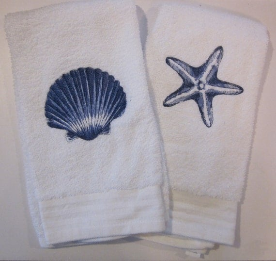 Embroidered Hand Towel Nautical Design Set By