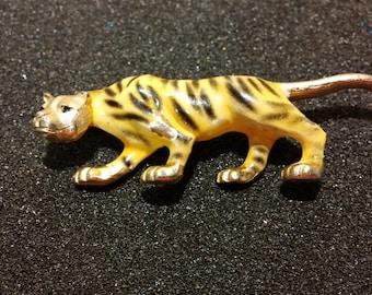 Enamel Tiger Brooch by J.J.