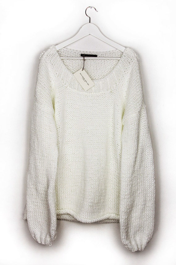 Oversized White Sweater Big Chunky Sweater Loose Sweater