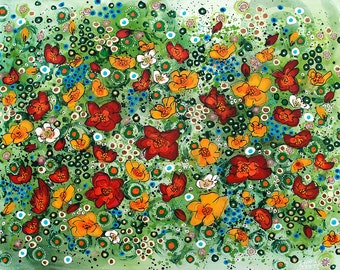Alaska Wild Poppies - Signed Giclee in a Mat