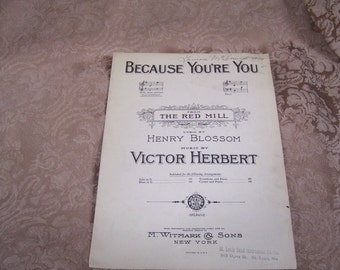 Because You're You Vintage Sheet Music