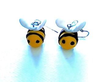 Bee My Honey Dangle Earrings Polymer Clay Jewellery