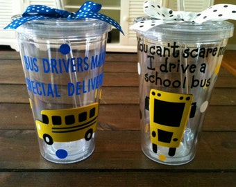 Tumbler for bus driver gift. Can have name on it as well for no additional charge
