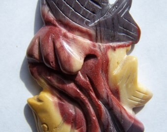 Hand Carved Mookaite pendant Sea Life Fish 57x34mm