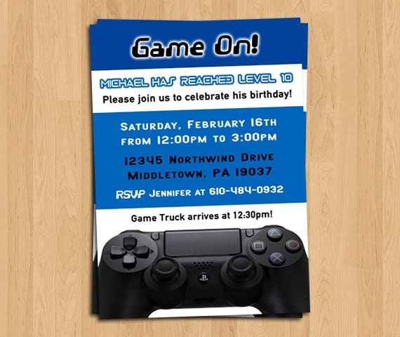 Gaming Invitation Gamer Birthday Invite PS4 by LifePlusTwo