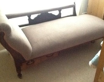 Items similar to grey bed end bench window seat chaise on etsy for Chaise longue window seat
