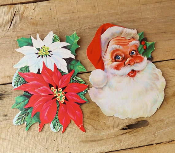 Vintage 1950s Christmas Decorations Santa Decorations 1950s
